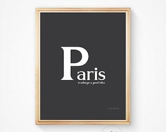 Parisian decor, Typography print, Paris decor, Wall art, Art print, Paris art print Paris wall art Paris Paris art Paris poster, Paris print