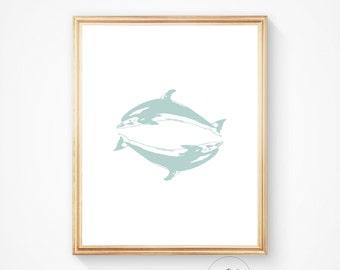 Bathroom print, bathroom art, bathroom wall art, dolphin print, fish art, dolphin wall art, sea print, sea wall art prints, mint, teal, art