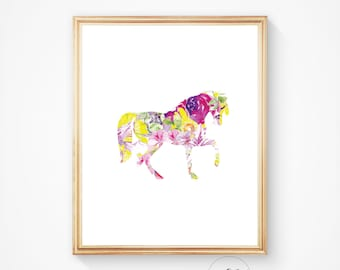 Horse print, horse art prints, horse printable art, digital horse wall art decor, horse printable, watercolour horse, colourful horse print