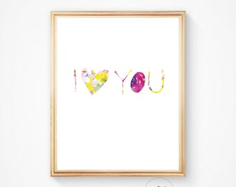 I love you print, I love you art, romantic print, I heart you. I love you wall art, watercolour print, happy print, nursery print
