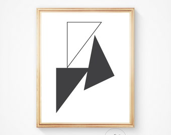 Black and White triangle print, modern print scandinavian wall art triangle printable art simple wall art prints, geometric print, triangle