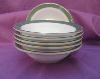 Vintage Pyrex Dinnerware, Berry Bowls, Set of 6, in Regency Green with 22 Kt. Gold Banding. 1954 to 1957