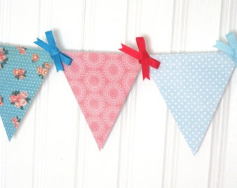 Stitch in Time Mini Paper Pennant Banner / Retro Decor / Party / Baby Shower Decoration / Gender Neutral / Pink and Blue / Bunting / Garland