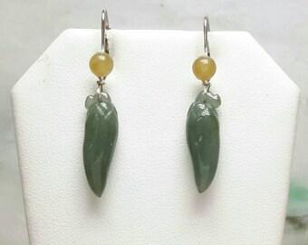 Natural color jade earrings, dangling jade earrings, green jade earrings, silver jade earrings