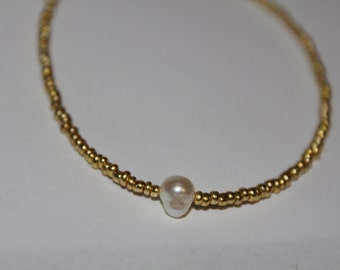 gold beaded choker with faux freshwater pearl