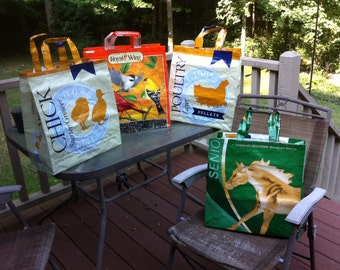 Recycled upcycled animal feed bags totes