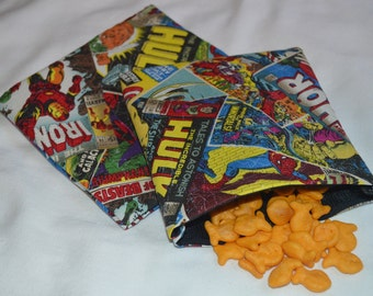 Snack Bags-Snack And Sandwich Bags-Reusable Snack Bags-Sandwich Bags-Superhero Snack Bags-Marvel Superheroes-Marvel Comics