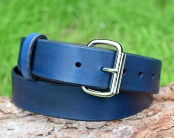 Cristopher Handmade Blue Leather Belt