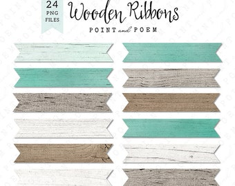 Banner Clip Art, Wood Ribbon, Labels White wood, Rustic Wood, Texture, Turquoise, rustic wedding - Commercial Use