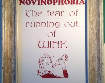 Paper cut. Novinophobia, The Fear Of Running Out Of Wine, Unframed.