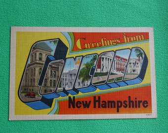 Large Big Letter Postcard, Concord New Hampshire, Linen Finish