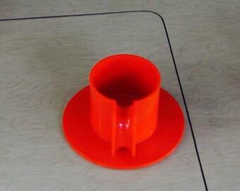 Orange Heller Demis with Saucers  - original italian mold - Massimo Vignelli
