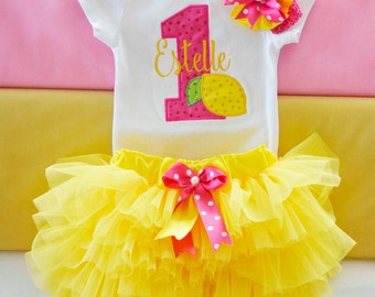 Lemonade Stand Birthday outfit,1st Birthday Lemonade Stand Outfit;Girls hot pink and yellow 1st birthday lemonade tutu outfit
