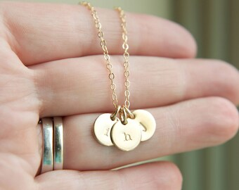 "Gold Initial Necklace, 1 2 3 4 5 Initial Necklace, Dainty Initial Necklace, Initial Personalized Necklace, Monogram, 14K gold-fill 3/8"" disc"