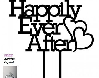 Happily Ever After Wedding Anniversary Acrylic Cake Topper - Cap