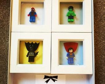 Mini Framed Marvel Lego Superheros, Spiderman, Thor, Wolverine, Ironman, Captain America etc little boy gifts