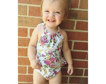 White Floral Baby Romper - Sunsuit with Back Ruffles
