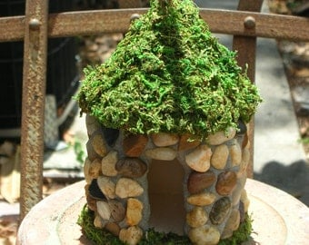 Fairy House Covered in River Rocks and faux Moss.  6 inches tall..Can be hung or placed in garden...indoors or out.