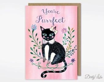 Greeting Card- Cute Card - Cat Card - Purrfect - Cat Illustration - Cat Art