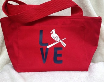 Cardinals Love lunch tote, lunch box