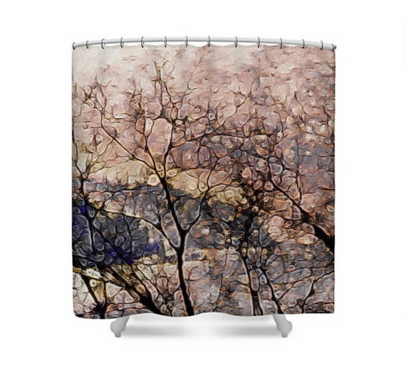 Puget Sound Fabric Shower Curtain Coastal Peach Amp Grey