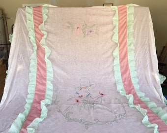 Embroidered 1920's Cotton Organdy Bed Spread