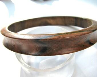 Bangle bracelet wood bracelet, 1/2 inch wide, wood grain, smooth finish