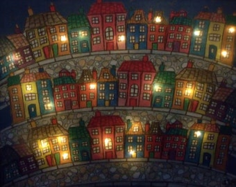 LED Picture - Little Town - Light Up Canvas