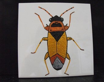 Ceramic Tile Painting, Original. Gold, copper, silver and black bug beetle creepie crawley insect plaque