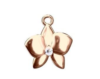Charm Orchid (Swarovski elements) Sterling Silver 925 plated with pink gold