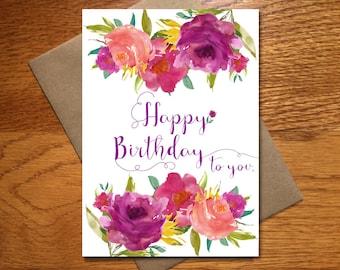 Every Day Spirit / Watercolor Happy Birthday Card For Her / Floral Birthday Card / Beautiful Birthday Card / Pretty Birthday Card / 5x7