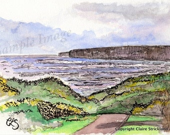The Bay, Filey, Yorkshire - Giclee Print of Original Watercolour and Pen Drawing by English Artist Claire Strickland