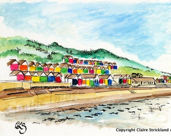 The Beach Huts, Scarborough, Yorkshire - Giclee Print of Original Watercolour and Pen Drawing by English Artist Claire Strickland