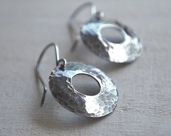 Sterling Silver Circle Earrings, Hammered Silver Earrings, Simple Circle Earrings