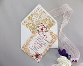 25 pcs Stylish Lace vintage wedding invitation roses ivory pink burgundy kit RSVP envelope bundle