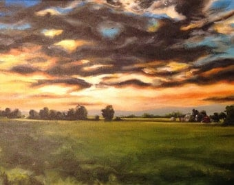 "Original landscape painting, acrylic painting, original art, sunset painting, farm painting, cloud painting, 10""x20"""