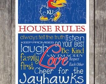 Kansas Jayhawks House Rules 4x4.1/2 Fridge Magnet