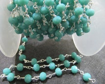 3 Feet AAA Quality Amazonite 6mm Beaded Chains, Rondelle faceted Hydro Quartz Rosary Chains, Beaded Stone Supplies in Discounted Rates