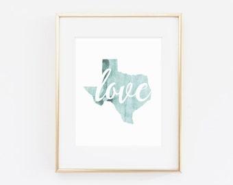 Love Texas, gallery wall art, watercolor print, watercolor, texas wall art, texas decor, seafoam wall art
