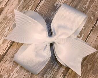 White hair bow, hair bow lot, white double layer hair bow