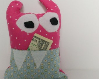 Pink Monster Tooth Fairy Pillow
