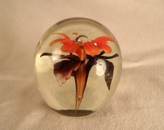 Paperweight-Vintage Glass Paperweight-Orange and Purple Flower with Bubble Office Decor Paperweight