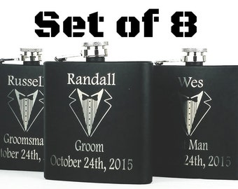 Set of 8 Groomsmen Gifts,  Engraved Flask With Gift Box, Groomsman Flasks, Best Man Flask, Wedding