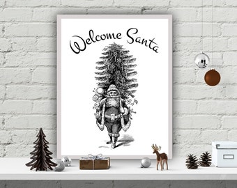 Christmas Printable Wall Poster Home Decor Art Print DIY Christmas Printables Christmas Instant Wall Decor Christmas Art Welcome Santa