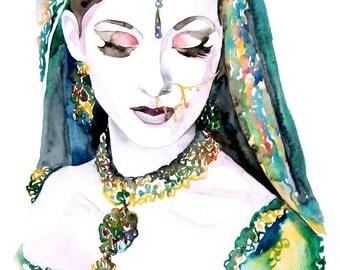 Cool ORIGINAL painting - Watercolor Original - Woman Portrait - Colorful Wall Decor - Affordable Art