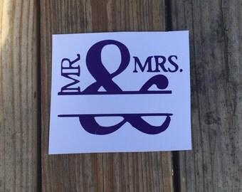 Mr. & Mrs. Vinyl Monogram Decal ~ Add Last Name Optional~ Wedding Present