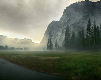 Yosemite, National Park, Fog, Storm, California, Half Dome, Yosemite Falls, Trees, Dusk