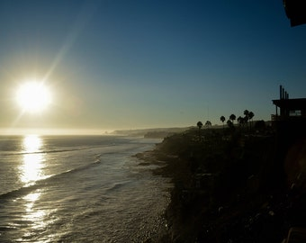 Baja California, Mexico, Beach, Ocean, trees, Houses, Sunset, Blue Sky, Waves, Cliffs, Dusk, Rosarito, Porta Nuevo