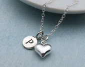 Personalized Heart Necklace Sterling Silver Heart Charm Necklace Personalized Jewelry Silver Heart Pendant Initials Necklace