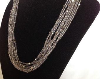 Smoky Grey Multi Strand Necklace